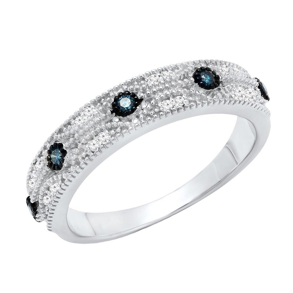 0.15 Carat (ctw) Sterling Silver Round Blue & White Diamond Ladies Vintage Wedding Band (Size 4.5)