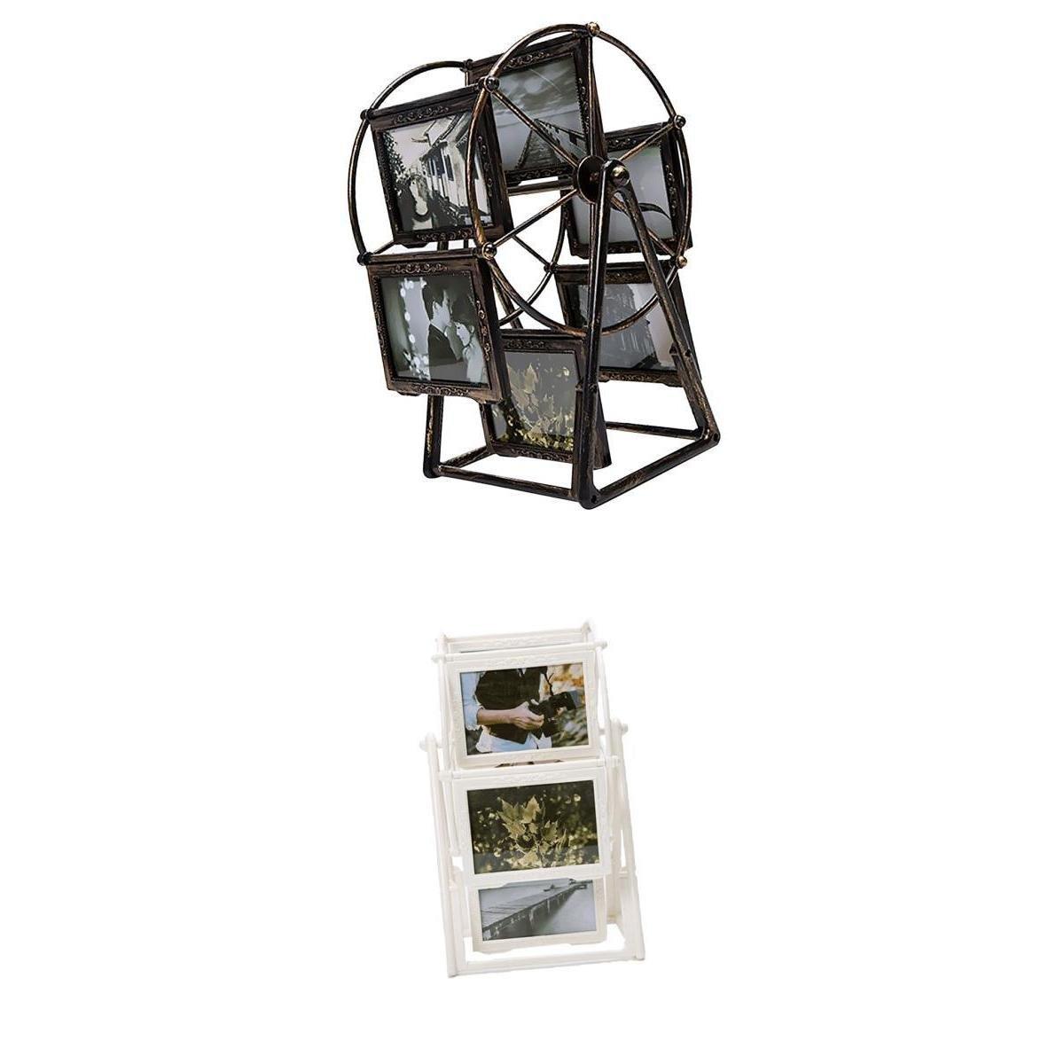MagiDeal 2pcs 5 ''Rotierende Riesenrad Kombination Bilderrahmen Fotorahmen Collage für 3 Bilder
