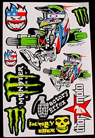 6 sheets motocross stickers RBZ Energy Drink Graphic promotion Stiker Bike Scooter Decal great gift