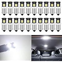 20-Pack BA9S BA9 12146 1445 1705 White LED Light 12V5 SMD 5050 Chipset Car Interior Replacement 6253 64111 Bulb for Map…