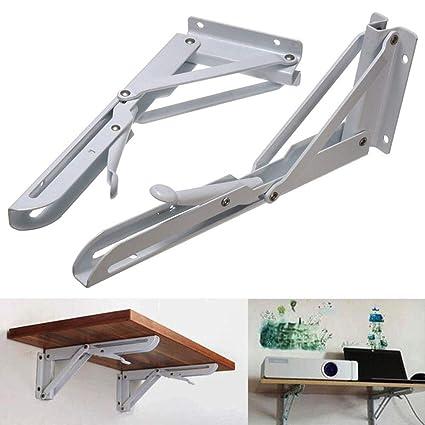 2PCS Folding Shelf Bracket, Wall Mount Support   Heavy Duty Fold Table  Hinge Brackets
