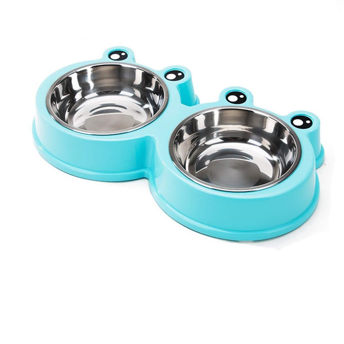 bluee S bluee S Dog Bowl, Dog Bowl, Cat Bowl, Cat Food Bowl, Dog Double Bowl, Cute Print Pet Supplies, Pet Bowl, Frog Shape, bluee, Yellow, Pink (color   bluee, Size   S)