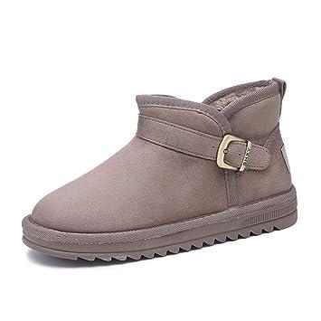 De Las Mujeres Botas De Nieve Invierno Antideslizante Fondo Plano Más Terciopelo Calentar Botas Cortas Zapatos De Algodon: Amazon.es: Deportes y aire libre
