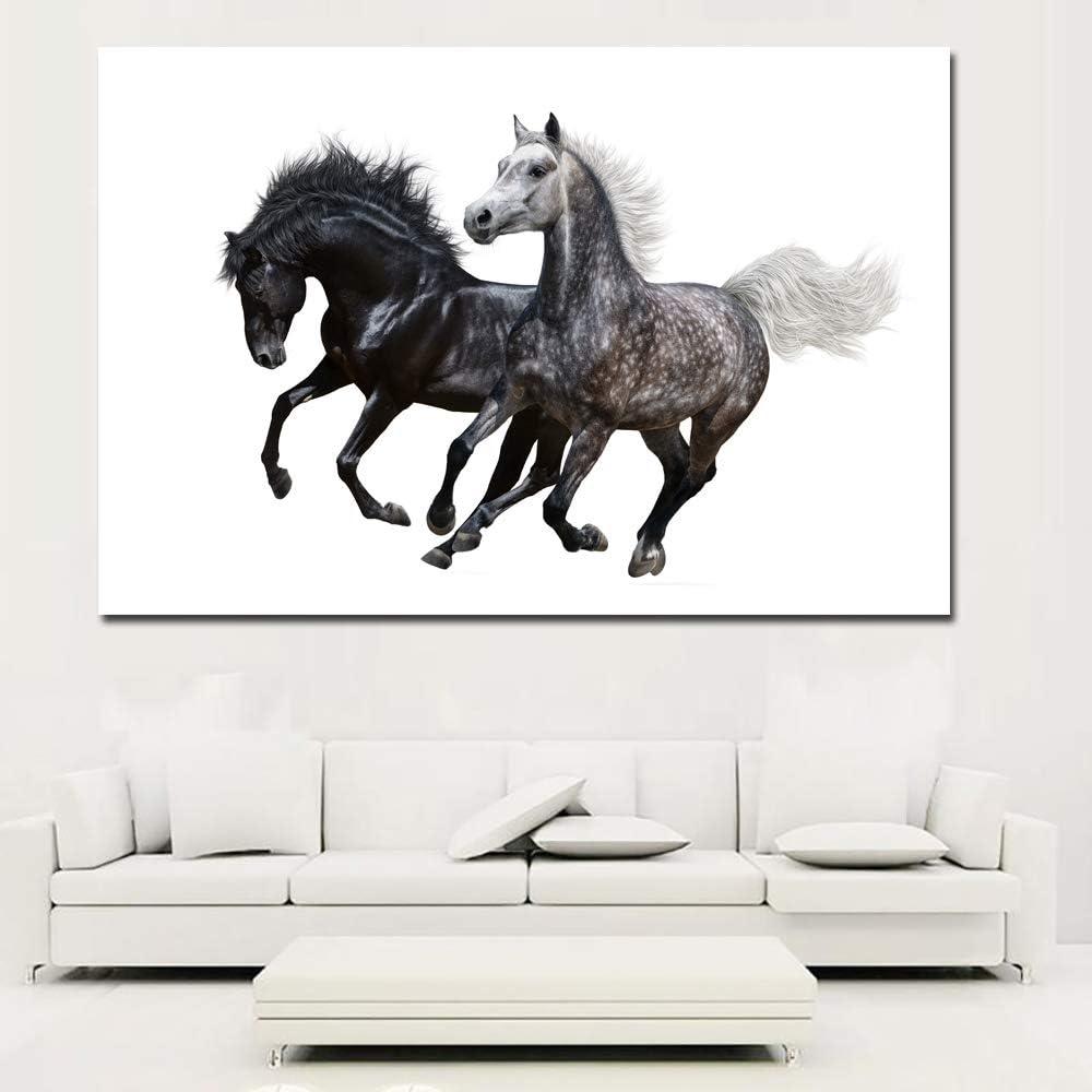 NIMCG Imágenes de Arte de Pared de Animales para Sala de Estar Decoración para el hogar Pintura de Lienzo Dos Caballos de Carrera Fondo Blanco (sin Marco) 50x70 cm
