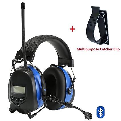 PROTEAR - Auriculares de protección auditiva Bluetooth con radio AM/FM digital y micrófono Boom