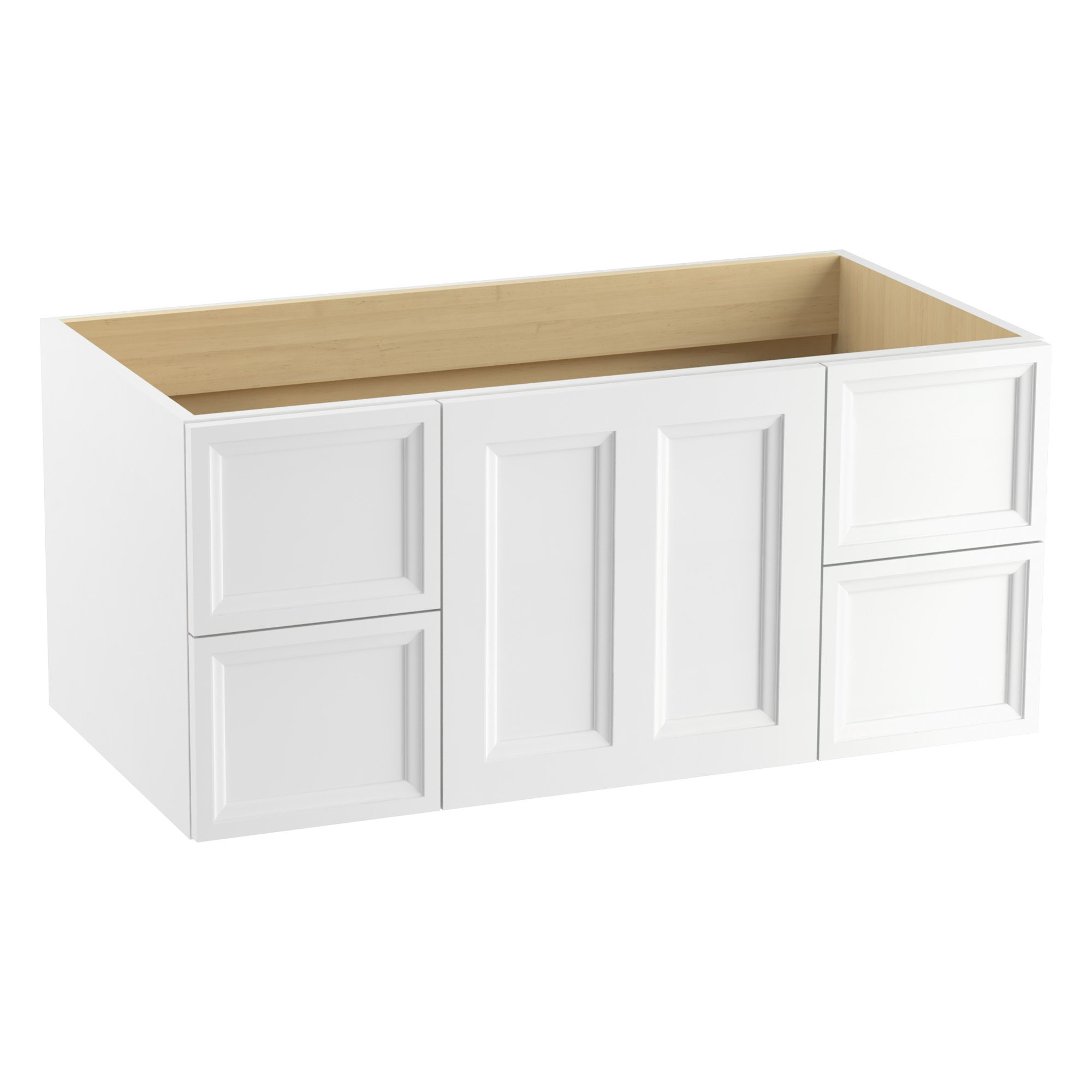 KOHLER K-99563-1WA Damask Wall-Hung Vanity with 1 Door and 4 Drawers, Linen White, 42''