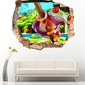 Tree Frog Animal Rainforest Wall Sticker Bedroom 3D Children's Room Vinyl Sticker Boy