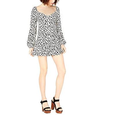 4SI3NNA Printed Flutter Romper Black/White Medium: Clothing