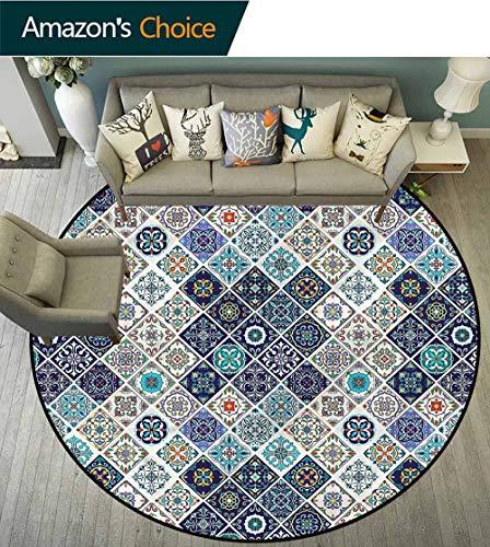 RUGSMAT Traditional Small Round Rug Carpet,Portuguese Azulejo Floor Mat Home Decor - Portuguese Floor