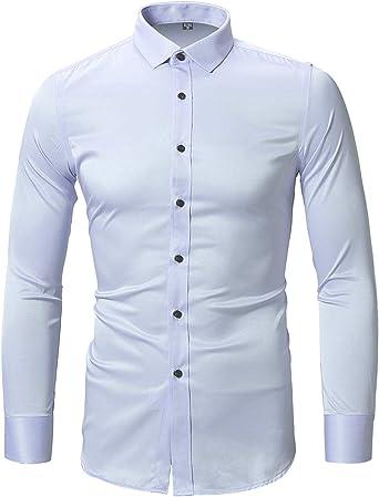 Harrms - Camisa de vestir para hombre, ajustada, de manga larga, formal, casual, con botones, camisas de noche elásticas Azul azul celeste 43/XL