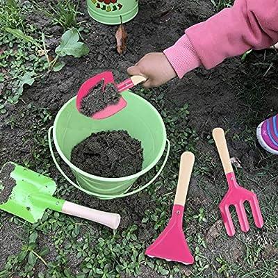 Tomaibaby 3pcs Kids Garden Tools, Pink Garden Tool Set Mini Kids Gardening Tools with Wooden Handle: Toys & Games