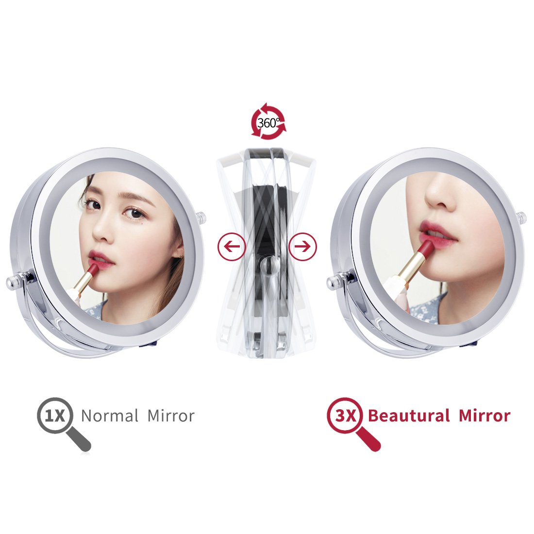 1X/3X Magnification Led Cosmetic Mirror Wall Mounted, Double Side, Adjustable, Rotating Function, Lighted Vanity Mirror, Powered by 4 x AAA Batteries (not Included) by FIRMLOC (Image #5)