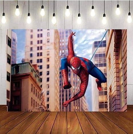 Dibujos animados fondo superman spiderman niño cumpleaños ...