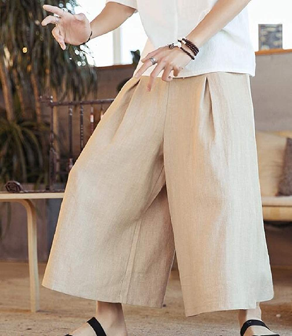 Jmwss QD Men Linen Solid Cropped Pants Summer Casual Drawstring Trousers