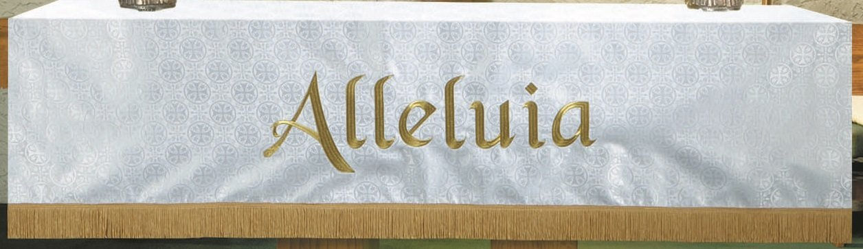 R.J Toomey White Polyester alleluia Embroidered Altar Frontal, 108 Inch by R.J. Toomey