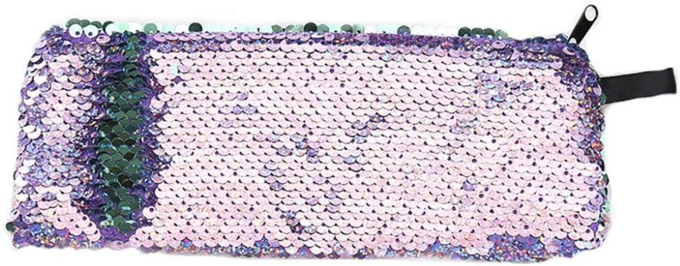 JiXUN - Estuche para lápices con lentejuelas y purpurina, diseño de sirena violeta: Amazon.es: Hogar