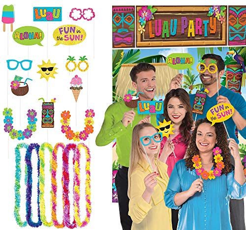 Party City Luau Photo Booth Supplies, Include a Tropical Luau Scene Setter, Tiki-Themed Props, and 6 Colorful Leis ()