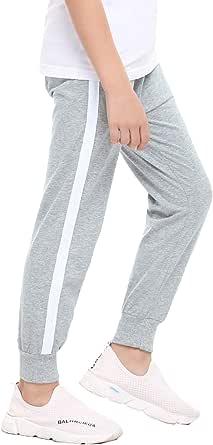 Irevial Pantalones niños de 100% algodón, Pantalones de Chándal para Niños de Cintura elástica con cordón,Pantalón Largo Deportivo con Bolsillos, para Cole/Correr/en casa