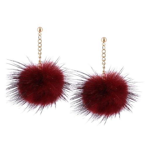 Pendientes Flecos, de Bola Pompon Estrella, Holacha Pendientes Largos diseño Asimetría Especial Elegante Joyería Regalo para Mujeres