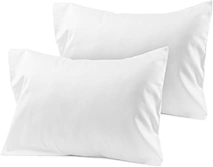 Ambition Home Set of 2 with 100/% Egyptian Cotton Zipper Toddler Travel Pillowcase 500 Thread Count 12 X 16 Size White Solid
