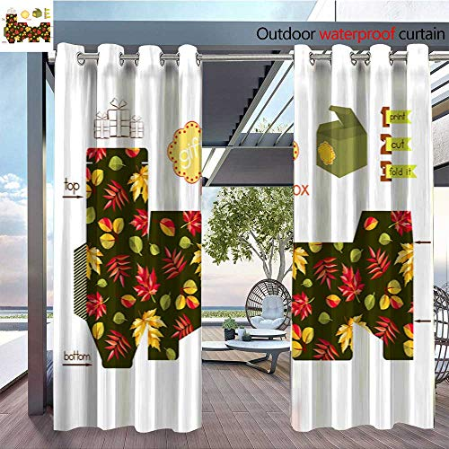 QianHe Outdoor- Free Standing Outdoor Privacy Curtain Printable-Gift-Box-with-Autumn-Leaves.jpg for Front Porch Covered Patio Gazebo Dock Beach Home W120 x L84(305cmx214cm) ()