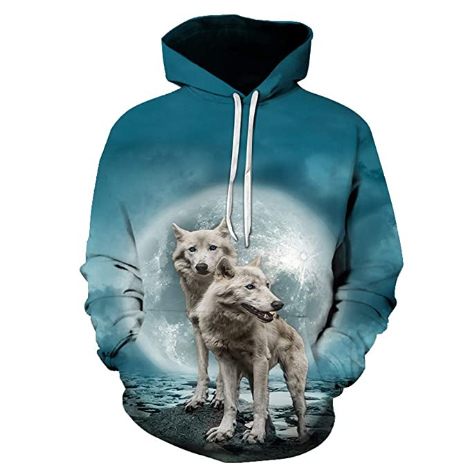 3D Wolf Print Premium Large Size Turtleneck Sweatshirt at Amazon Mens Clothing store: