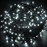 FULLBELL Christmas String Lights, 33ft 100 LEDs with Controller Fairy Twinkle Lights Decoration for Chirstmas Tree,Garden,Multi Stings Connectable(Black Wire)(White)