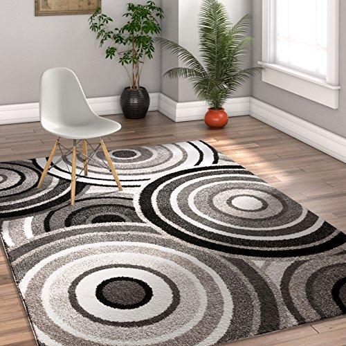 Carey Abstract Grey & Black Modern Geometric Circles 3x5 (3'3