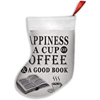 Nice Reading Lover Gift Happiness is A Cup Coffee A Good Book Beige Christmas Hanging Stocking,Assorted Santa Gift Socks…
