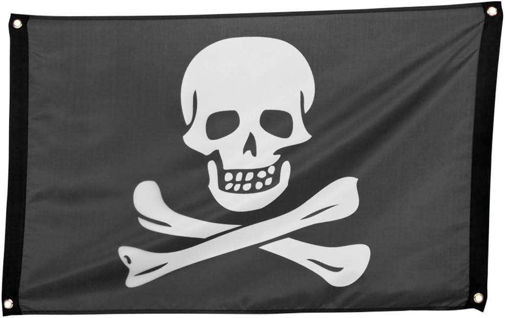 Anniversaires Le Drapeau du cr/âne com-four/® Drapeau Pirate avec cr/âne et os crois/és comme d/écoration pour Le Mardi Gras Halloween et Les soir/ées /à th/ème 01 pi/èce - 90x60cm Jolly Roger