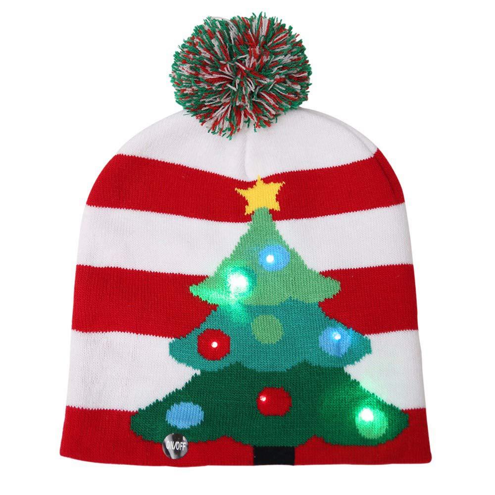 KEBY Sombrero de Navidad Patrones de Tejer con Luces LED Tejidas ...