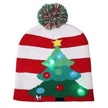 ff72e0106edb4 BulzEU Cute Winter Hats Knitted Beanies Hat Christmas LED Light Up Hat  Beanie Knit Cap Winter