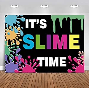 7x5ft It's Slime Time Photograph Backdrop for Kids Colorful Fiesta Boy Girl Birthday Party Baby Shower Dessert Table Summer Black Background Splatter Glow Favors Supplies Photobooth Props
