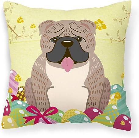 Caroline S Treasures Bb6126pw1414 Easter Eggs English Bulldog Grey Brindle Fabric Decorative Pillow 14hx14w Multicolor Garden Outdoor