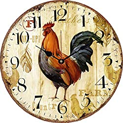 Yesee Wall Clock Non Ticking Battery Operated Large Wooden Wall Clock Decorative for Kitchen Bedroom Living Room [No Cover] (14 inch,Rooster)