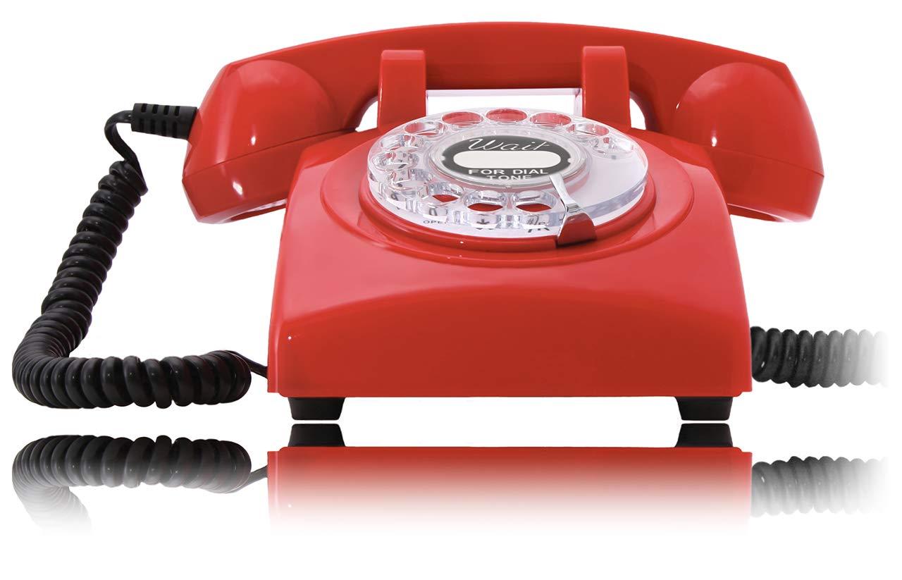 Opis 60s Cable mit US Post USPS Pappeinleger Retro Telefon im sechziger Jahre Vintage Design mit W/ählscheibe und Metallklingel blau