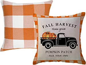 Fall Harvest Decorative Throw Pillow Covers Farmhouse Orange Checkers Plaid Cushion Covers Pumpkins Truck Pumpkin Patch Decor Pillowcase 18X18 Inch,Set of 2 Autumn Blessed/Thanksgiving Decorations