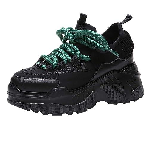 Zapatillas Deportivas Moda De Mujer,Zapatillas Deportivas Planas con Plataforma Deportiva Y Zapatillas Altas Y Redondas con Cordones: Amazon.es: Zapatos y ...