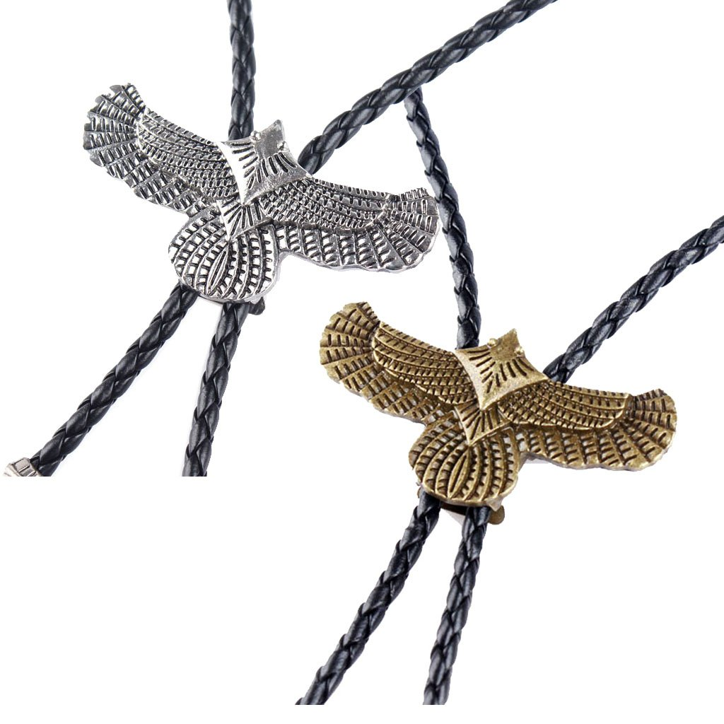 MonkeyJack 2 Pieces Men's Vintage Western Cowboy Eagle Bolo Tie Bola Pendant Necklace