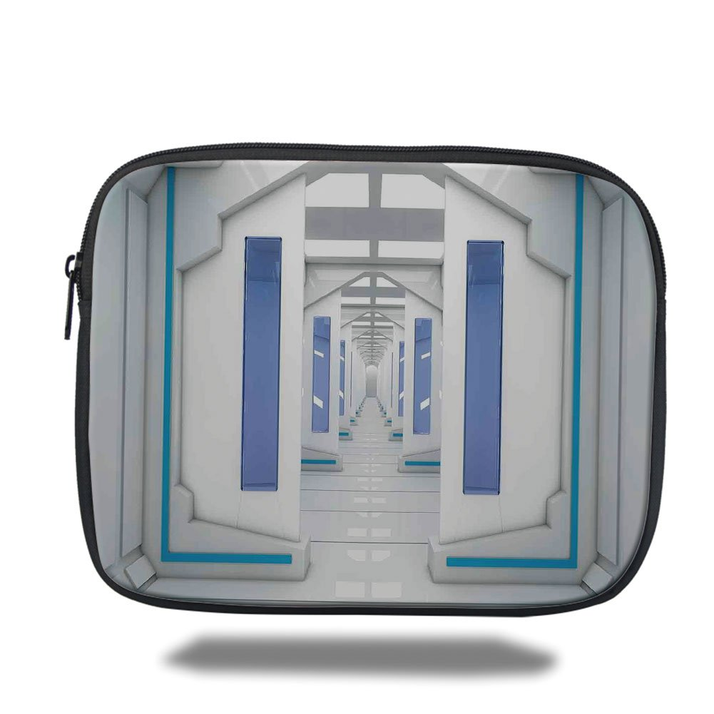 Laptop Sleeve Case,Outer Space Decor,Robotic Space Mission Vehicle Solar System Journey to Universe Milky Way,Blue White,iPad Bag