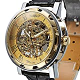 OUKU Hot!!!! Men's Fashion Luxury Semi-Mechanical Hollow Engraving Gold Dial Black PU Band Analog Wrist Watch Dress Watches Top Discount