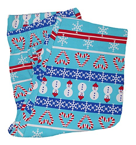 Fair Isle Heart (Christmas Snowmen & Candy Cane Hearts Fair Isle Blue Ankle Legging - Large)
