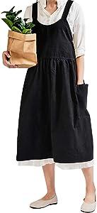 ZI TENG Cotton and Linen Apron Fashion Adjustable Bib Chef Apron,Coffee Shop Waist Kitchen Aprons 32X43 Inch