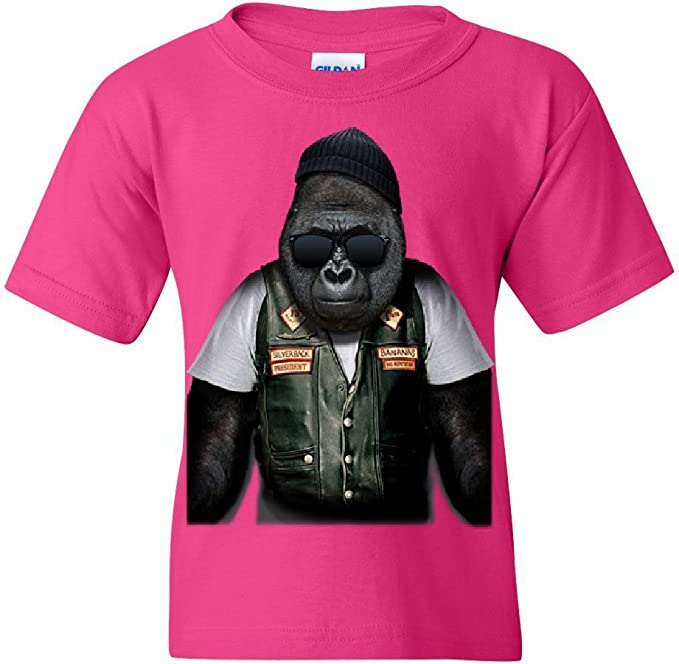 Biker Ape Youth T-Shirt Gorilla Motorcycle Route 66 Chopper Bobber Kids Tee