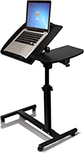 turnlift sit-Stand Mobile Laptop Desk Cart with Side Table Black