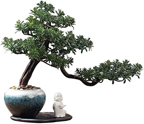 Amazon Com Artificial Bonsai Tree Welcome Bonsai Chinese Zen Like Artificial Welcome Pine Ceramic Statue Hotel Villa Simulation Potted Home Decoration Artificial Green Plant Fake Bonsai Artificial Tree Desktop Home Kitchen