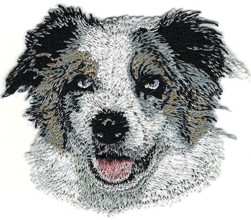 Embroidered Patch- Patches for Women Man- Cool Patches-Australian Shepherd Dog Breed Portrait Iron On Embroidery Patch ()