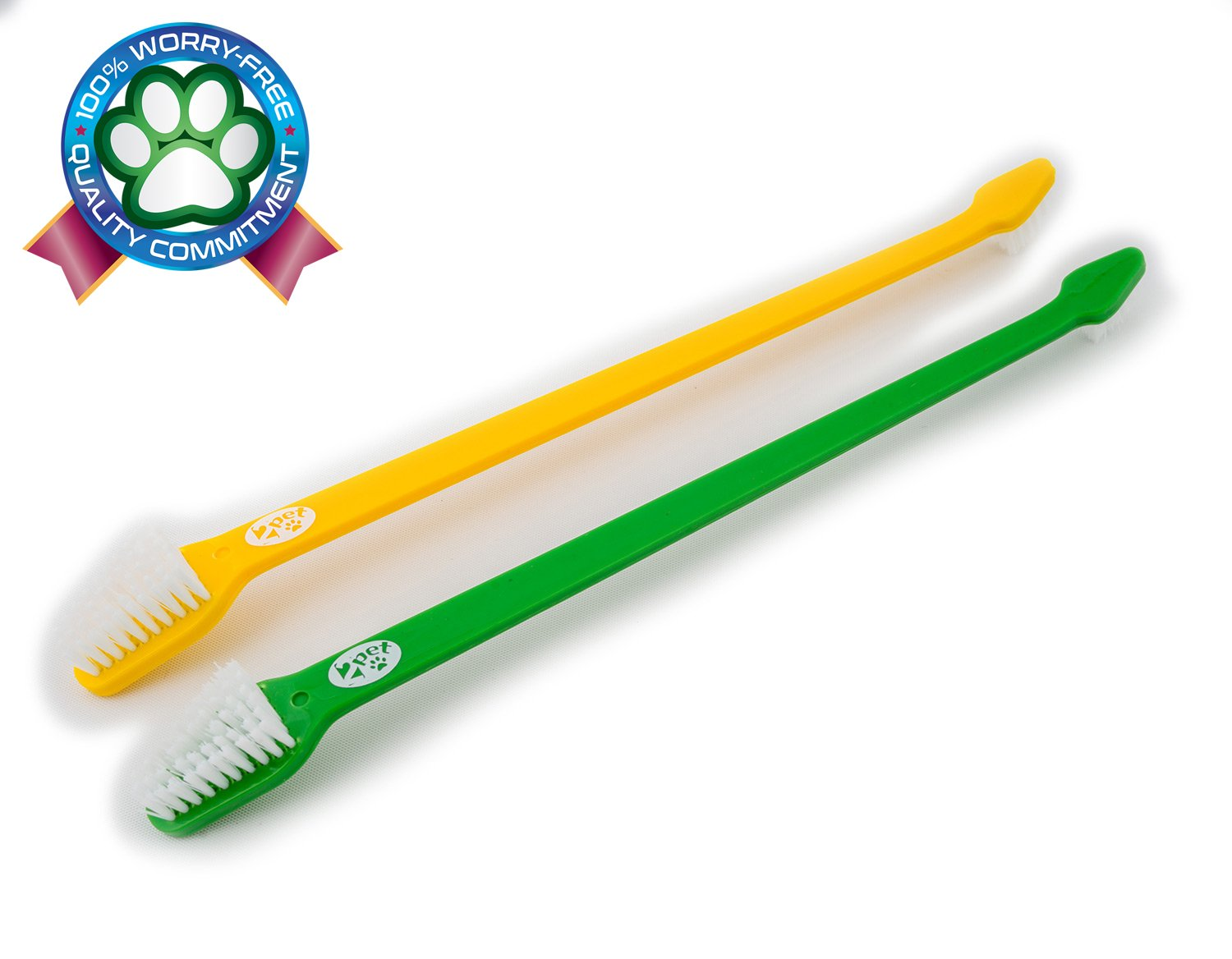 2PET Denty White Set of 2 Double Headed Toothbrush for Small, Medium and Large Dogs and Cats– - Guardian Green and Mellow Yellow
