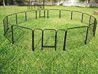"""Yaheetech 24"""" Tall Metal Pet Dog Puppy Cat Exercise Fence Barrier Playpen Kennel, 16 Panels"""