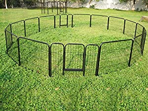 "Yaheetech 24"" Tall Metal Pet Dog Puppy Cat Exercise Fence Barrier Playpen Kennel, 16 Panels"